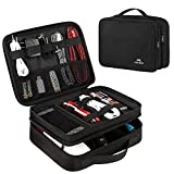 MATEIN Bolsa Cables, Organizador Estuche de Electrónicos Accesorios Viaje Cable Organizer Bag para Cargadores, Cable USB, Ratón, Powerbank, Tarjetas de Memoria, 2 Capas, Negro