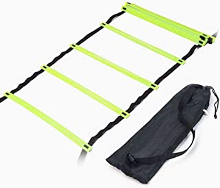 H&H 12 Rung Agility Ladder, Adjustable Agility Training Ladder Speed Training Equipment with Carry Bag, Football Flexibility Training Jumping Ladder