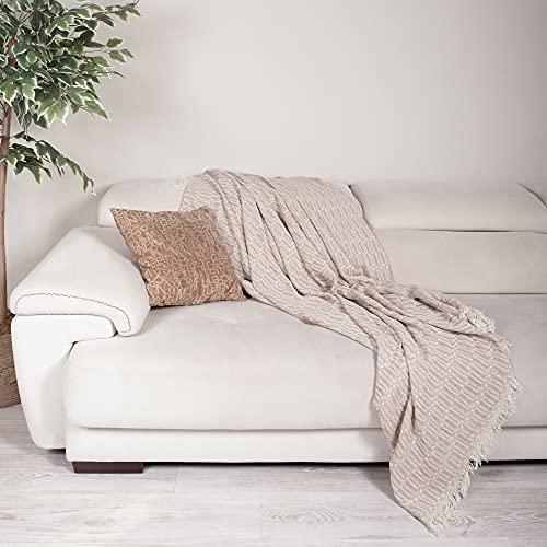Große natürliche Baumwoll-Strickdecke für Sofa, Couch, Sessel, Bett, Bauernhaus und Heimdekoration, 170 x 200 cm (Beige)