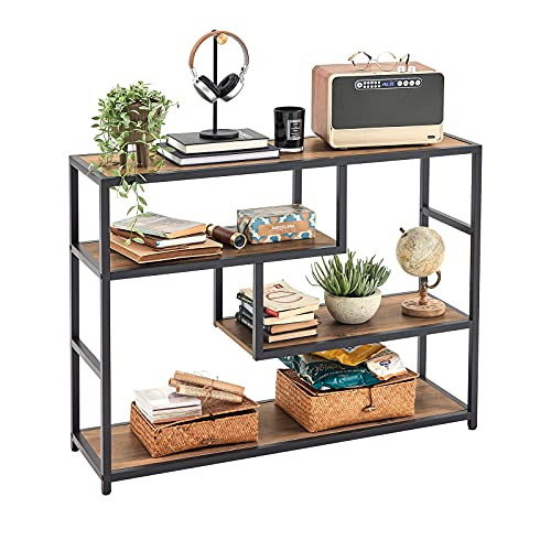 Linsy Home Console Table, Sofa Table for Entryway with Storage Shelf, Wood Look with Metal...