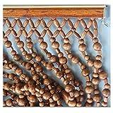ZTMN Holz dichten Perlen Türvorhang für Tür Raumteiler Perlen Kette für Dekoration Tür Fadenvorhang (+ hängende Hardware) (Farbe: rot, Größe: 80x198cm)
