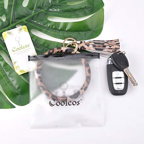 Coolcos Key Ring Bracelets Wristlet Keychain Bangle Keyring - Large Circle Leather Tassel Bracelet Holder For Women Gift (A Leopard)