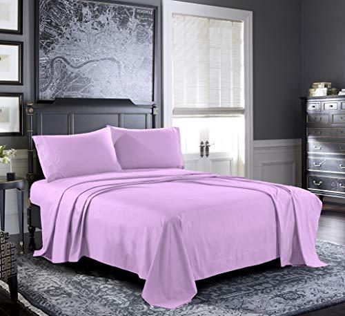 Bettwäsche-Set aus frischem Leinen, Mikrofaser mit 1800 tiefen Taschen, luxuriöses Doppelbett-Spannbetttuch, Bettlaken, Kissenbezüge. Queen Fliederfarben