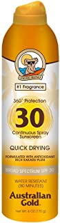 Australian Gold Continuous Spray Sunscreen, Dries Fast, Broad Spectrum, Water Resistant, SPF 30, 6 Ounce