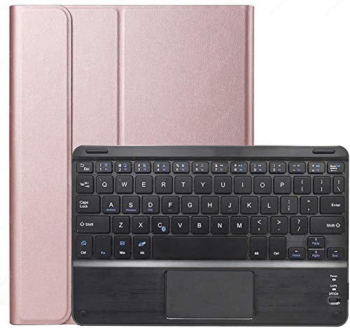 Funda con Teclado Y Panel Táctil para Galaxy Tab S7 11 2020 [SM-T870 / T875 / T876], Teclado Desmontable Inalámbrico con Cubierta Protectora para Samsung Galaxy Tab S7 De 11 Pulgadas 2020,Rose Gold