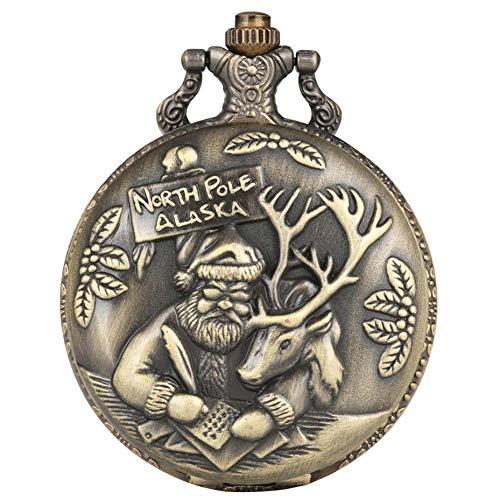 J-Love Reloj Bolsillo Retro, Papá Noel Elk Display Tema navideño Reloj Bolsillo Cuarzo Punk Cool Bronce Collar Reloj Colgante Hombres Mujeres