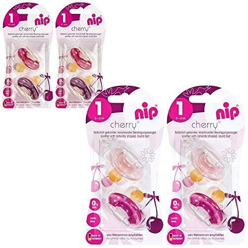 NIP Cherry Rundsauger Schnuller // 8 Stück Girl Set // Gr.1 // Naturlatex // 0-6 Monate // Creme & Pink + Lila & Rot