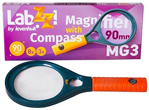 Levenhuk Lupa Educativa de Bolsillo LabZZ MG3 para Niños, con Brújula para Explorar la Vida Silvestre, de Color Naranja y Azul