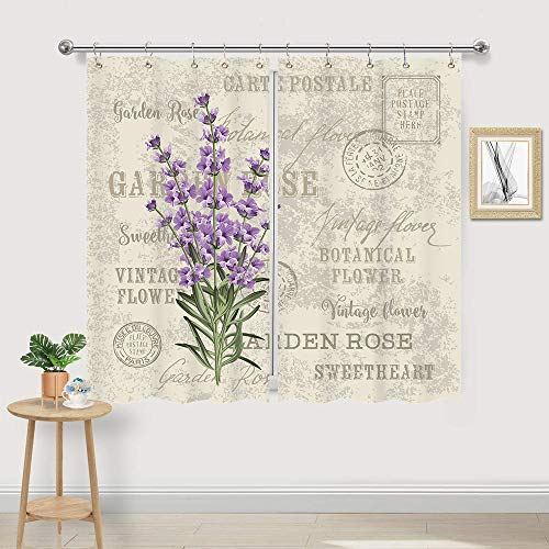 JAWO Lavender Vintage Postcard Kitchen Curtains, Hem Flowers Stall Floral Grunge Herbs Leaves Purple Beige Decor Fabric Kitchen Curtains Panels, Window Treatment Drapes Sets with Hooks, 55X39Inches