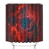 MEELCOOL Duschvorhänge,Weinrot kreative Schwarze Loch Individuellkeit Digitaldruck wasserdicht Duschvorhang 150 x 180 cm