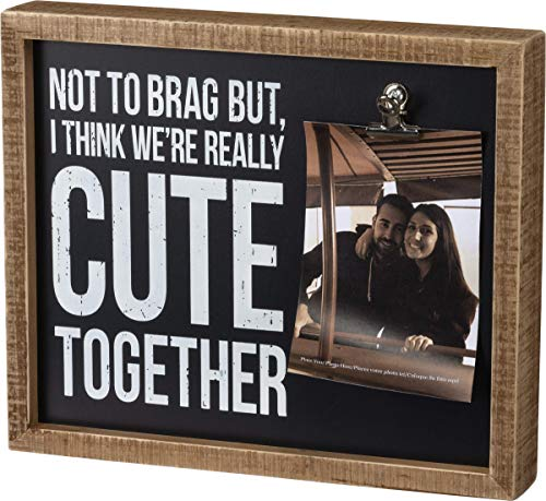 Primitives by Kathy 105474 Not To Brag Wooden Inset Box Frame, 12-Inch, Black , White and Brown