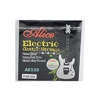 Alice AE530-XLメッキスチールニッケール合金巻線エレクトリックギター弦、余分な超軽い張力0.97mm、E-6th