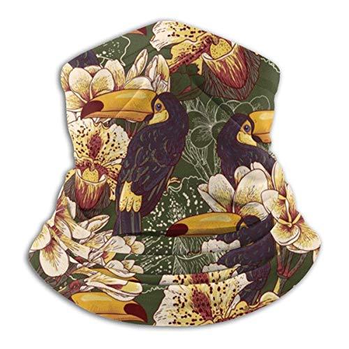Neck Warmer Retro Flower Toucan Neck Warmer Windproof Balaclava Fleece Hood Free UV Winter Hats