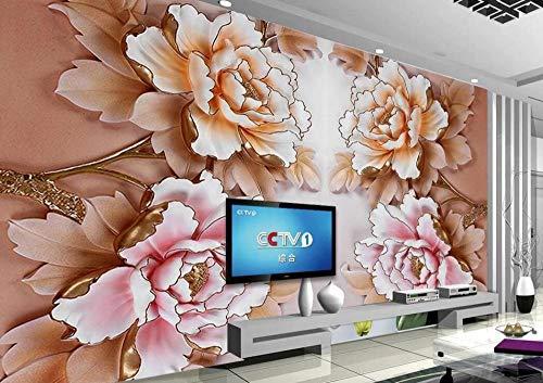 Papel Pintado 3D Estilo De Alivio De Flor De Peonía Rosa Fotomural 3D Papel Tapiz Moderno Papel Pintado Pared Dormitorio 250cmX175cm