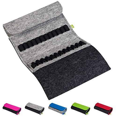Homöopathische Taschenapotheke für Globuli, leer, Globuli-Tasche für 24 Globuli-Röhrchen (Glas), handgemacht aus echtem Filz (grau)