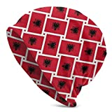 Photo de 136 Bonnet unisexe en tricot avec drapeau national de l'Albanie - Chaud et respirant