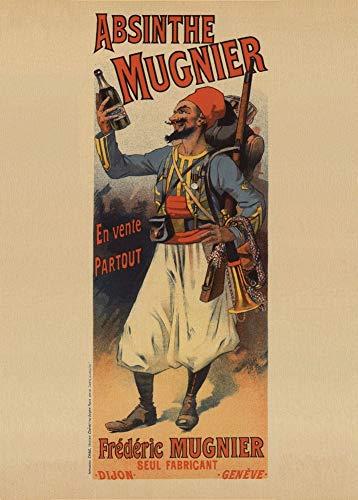 Vintage bieren, wijnen en sterke drank 'Absint Mugner' 1895, 250gsm Zacht-Satijn Laagglans Reproductie A3 Poster