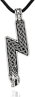 Sowilo Younger Futhark Rune Sol Amulet Pendant Necklace with Wolf Head and Celtic Knot Pattern Silver Color Norse Scandinavian Viking Jewelry