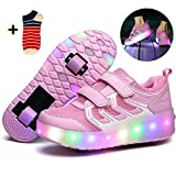 Linannau Zapatos con Ruedas Ruedas for niños Ruedas Dobles Ruedas retráctiles con Ruedas Se Pueden Cargar Zapatos con luz LED Zapatillas Deportivas al Aire Libre Unisex (Color : Pink, Size : 31EU)