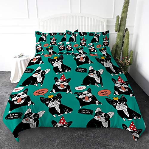 ARIGHTEX French Bulldog Puppy Duvet Cover Set Happy Dog Animals Bedding Sets Green Comforter Cover 3 Pieces Soft Lightweight Cute Bedding Gifts for Frenchie Lovers (Twin)