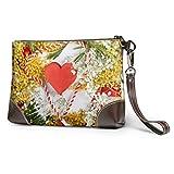Borsa da polso JHGFG Amaretto a forma di cuore rosso circondato da portafoglio in pelle con cinturino da polso per borsa da donna Borsa da polso per smartphone