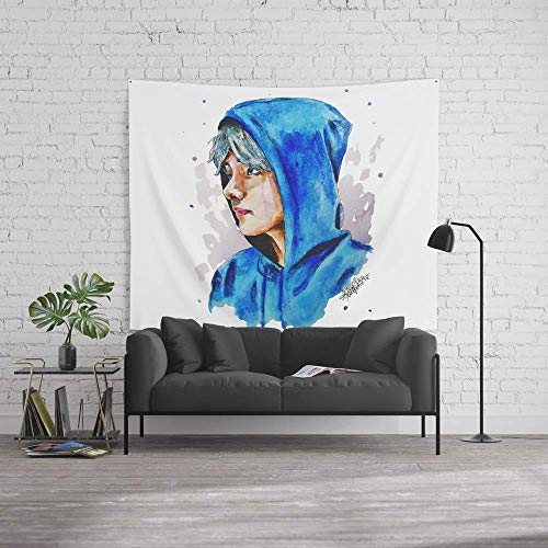 Force-over Wall Tapestry, Size Large: 60' x 90', Taehyung Watercolor BTS