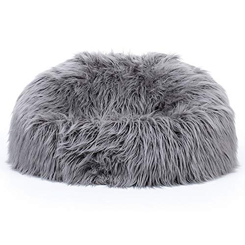 icon Soho Classic Mongolian Faux Fur Bean Bag Chair, Luxury Furry Living Room Bean Bags for Adults…