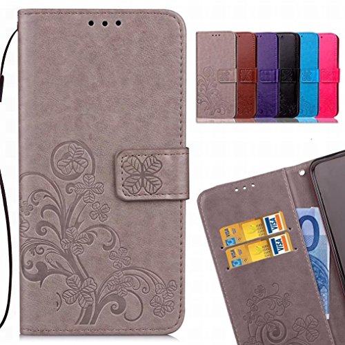 LEMORRY Handyhülle für Huawei Honor 6X Hülle Tasche Ledertasche Flip Schutz Magnetisch Soft SchutzHülle Weich Silikon Cover Schale für Honor 6X (Huawei GR5 2017), Glücklicher Klee Grau