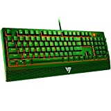 VicTsing Gaming Keyboard Wired, Red LED Backlit Mechanical Keyboard with Red Switch, 100% Anti-ghosting, Waterproof, Quiet Computer Keyboard with Detachable Ergonomic Wrist for Mac, PC Gamer-Green