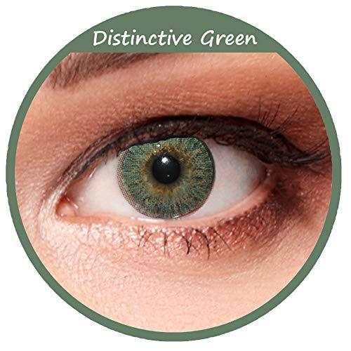 Designlenses, 2 mossgrüne weiche Farbige Kontaktlinsen, natürlich wirkende 3 Monatslinsen in grün Design: Distinctive Green mit Stärke -1,75