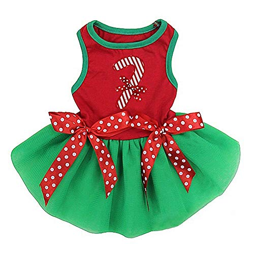 Christmas Stick Candy Green Pets Dog Small Puppy Tutu Party Dress Red (M)
