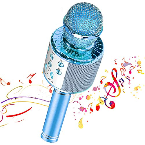 【Nuevo diseño 2020】 Micrófono de karaoke inalámbrico Bluetooth, Grabador de reproductor de altavoz de micrófono portátil, Máquina de altavoz de karaoke recargable(Blue)