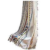 Bohemio Lino Ventanas Cortina,a Rayas Geométricas Colorido Translucida 1 Panel Cortinas Visillos,decoración De La Ventana Gancho 150x220cm(59x86in)