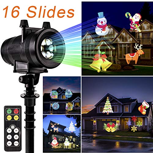 GIGALUMI Christmas Projector Light, Waterproof Bright Led Landscape Lights for Halloween, Xmas, Indoor Outdoor Party, Yard Garden Decoration. (16 Slides)