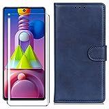 HYMY Funda para Samsung Galaxy A01 Core + Cristal Templado - Simplicidad Clásica PU Caso con Ranura para Tarjeta Flip Ranuras Cuero Folio Caja Carcasa para Samsung Galaxy A01 Core - Armada