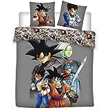 Funda nórdica Dragon Ball Z, edición Collector, gris oscuro, reversible, 220 x 240 cm, para 2 personas, 100% algodón
