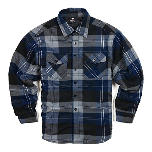 YAGO Men's Quilted Lined Long Sleeve Flannel Plaid Button Down Shirt YG2611 (Navy/Dark Grey/Grey, 3X-Large)