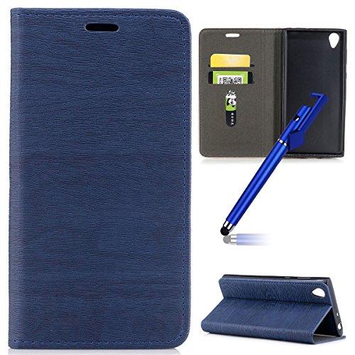 Preisvergleich Produktbild MoreChioce kompatibel mit Sony Xperia L1 Hülle, Flip Case Leder kompatibel Sony Xperia L1,  PU Leder Klapphülle Retro Blau Schutzhülle Handytasche Brieftasche Magnetverschluß Standfunktion, EINWEG