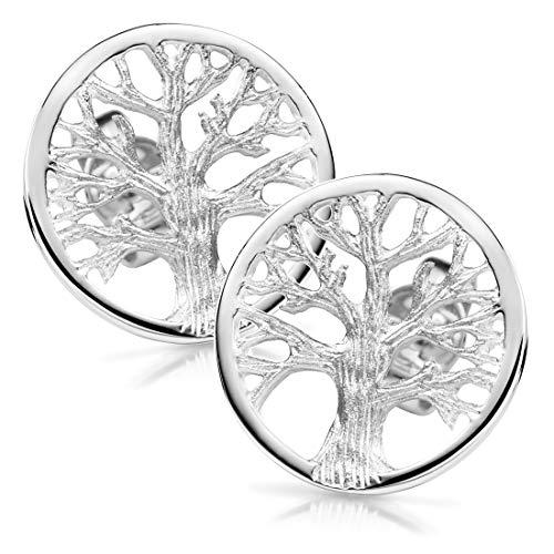 MATERIA Damen Ohrstecker Silber 925 Lebensbaum Stecker Baum Keltisch rhodiniert Ø14mm inkl. Schmuck Schachtel SO-179-14mm