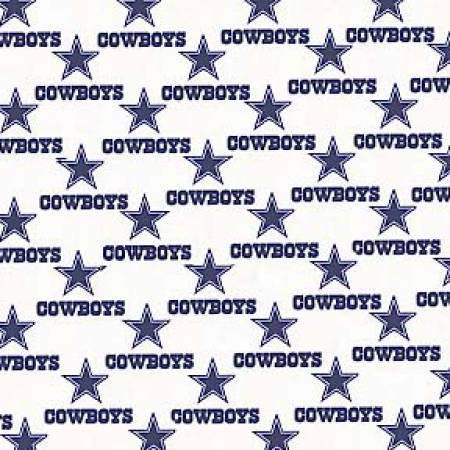 """Dallas Cowboys NFL Football in White 58"""" Wide 100% Cotton Fabric by The Yard"""