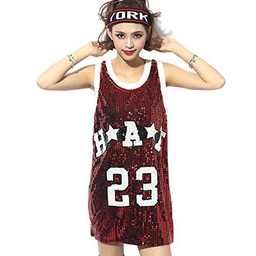 JLTPH Mujeres Lentejuelas Sueltas Casual Camiseta Patrón Digital Trajes de Discoteca Jazz Hip Hop Traje de Baile Callejero Equipo de Rendimiento Tops (Talla única, Rojo 1)