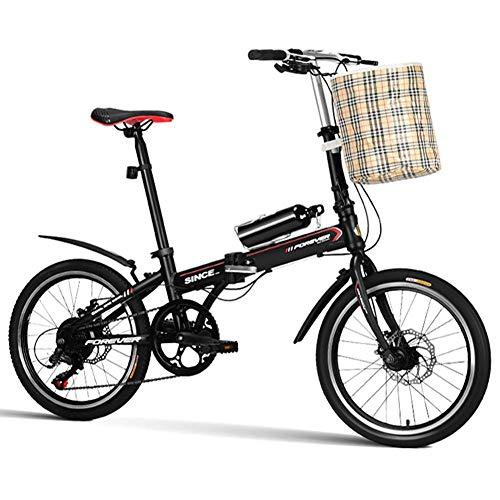 """Xiaoyue 20\"""" Klapprad, 7 Geschwindigkeit leichte, tragbar Erwachsene Frauen Doppelscheibenbremse faltbares Fahrrad, verstärkter Rahmen Pendler Fahrrad, Schwarz lalay (Color : Black)"""