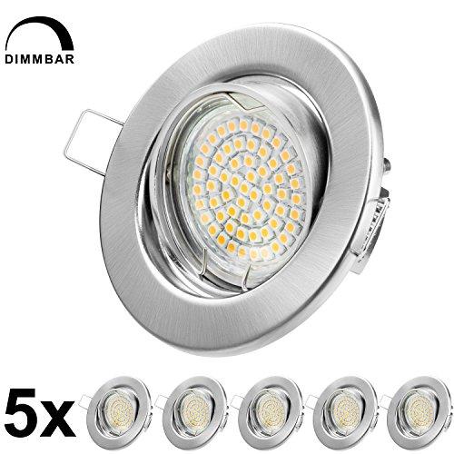 Preisvergleich Produktbild LED Einbaustrahler Dimmbar GU10 Warmweiss 250lm - Chrom Gebürstet - Einbauleuchten - Einbauspots