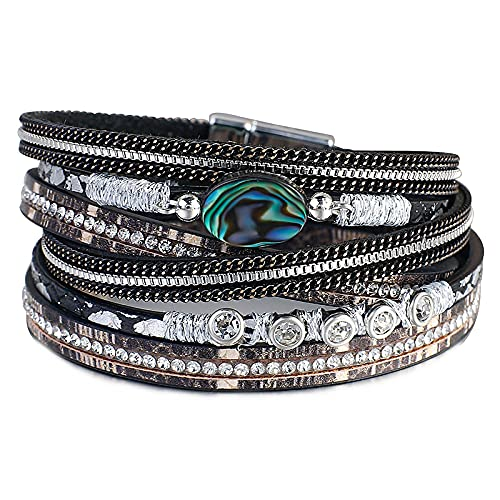 HMANE Pulsera de Cuero de Concha Bohemia para Mujer, Pulseras y brazaletes Anchos de múltiples Capas de Moda, Pulseras y brazaletes, joyería