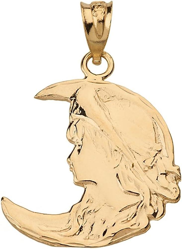 Solid 14k Yellow Gold Art Nouveau Crescent Moon & Lady Pendant
