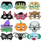 Hakka 12 Piezas Máscara de Halloween Máscara de Fieltro Animal Calabaza Murciélago Calavera Bruja Payaso Fiesta Máscara de Niños Máscara para Fiesta de Halloween
