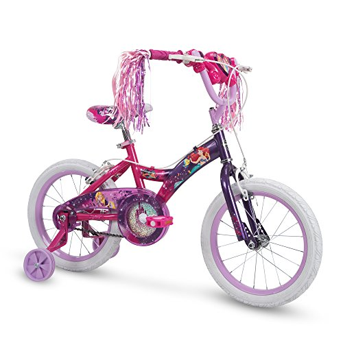 Huffy Disney Princess Kid Bike w/ Streamers & Training Wheels, Purple