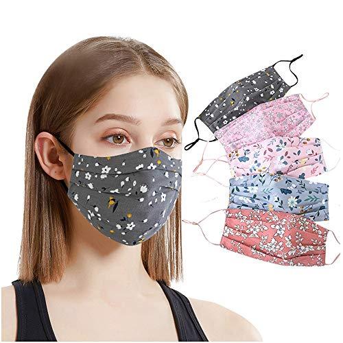 Jasinto Mundschutz für Damen Herren, Anti-Staub Nasenschutz Gesichtsschutz Multifunktionstuch für Radfahren, Laufen, Waschbar & Wiederverwendbar Nasen und Mund Schutz, Süßes Blumen Drucken, 5er Pack