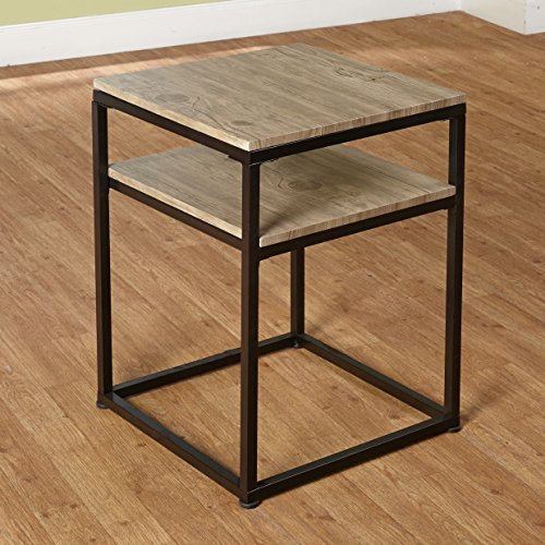 Target Marketing Systems Piazza Collection Modern Reclaimed Sleek End Table With Open Shelf, Wood/Metal