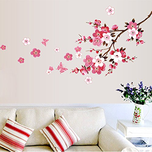 Qianxing removable cycle-usable flower and tree theme wallpaper wall sticker leisure style beautiful scenery Wall Decal for house home living room mural Decoration(peach blossom)(120*50) by Qianxing